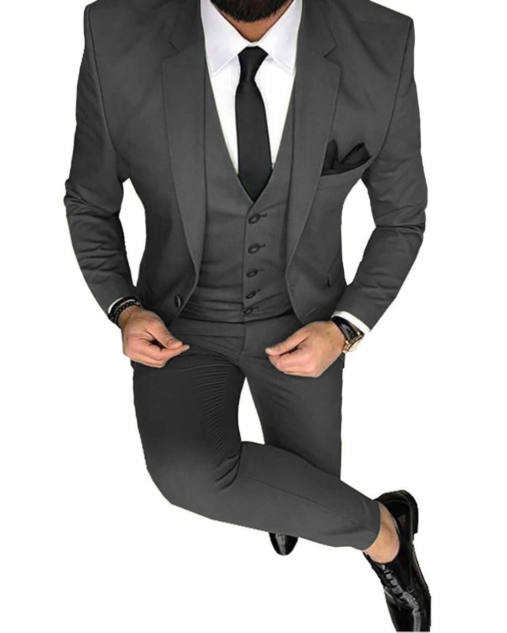 Blazer+Vest+Pant Mens 3 Piece Winter Men Suit Velvet Slim Fit Notch Lapel Formal Tuxedos for Groomsmen