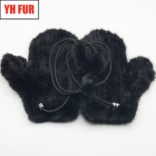 Unisex Knitted Natural Mink Fur Mittens Russian Women and Men Winter Thick Warm Genuine Real Mink Fur Gloves Outdoor Fur Gloves