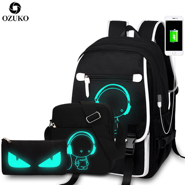5268888ef12d US $23.66 39% OFF|OZUKO New Fashion School Backpacks Student Luminous  Cartoon Anime School Bags For Teenager Boys Girls USB Charge Laptop  Backpack-in ...