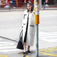 Original Autumn Trench Coat for Women 2016 Big Pocket Long Coat Handsome Street O Neck Windbreaker Women