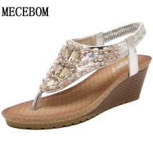 2016 Bohemia Wedge Women Sandals Summer Vintage Rhinestone Woman Flip Flops Beach Women Shoes Comfortable Sandals
