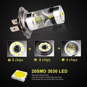 Image 2 - 2 sztuk światła przeciwmgielne samochodu H7 żarówka LED Super Bright 12V 24V 6000K biały 20 3030SMD jazdy reflektor do jazdy dziennej Auto Led H7 żarówki