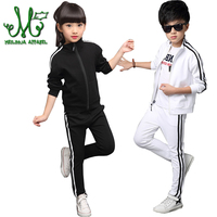 4 16 Years Boys Girls Sportswear Kids Zipper Clothing Set Spring &Autumn Solid Stripe Student Tracksuits Girls Sports Suits