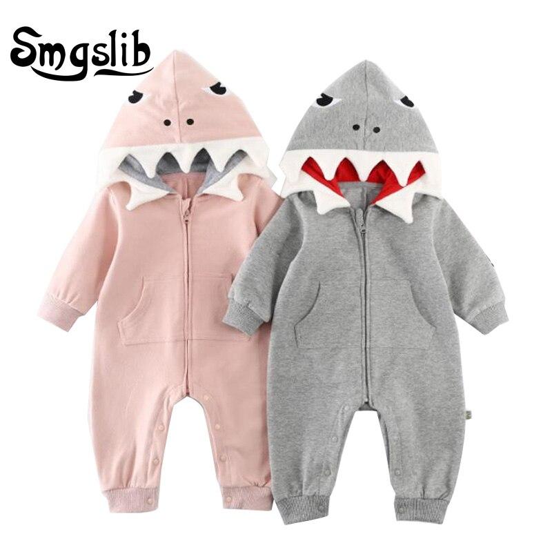 Newborn Infant Baby boy romper Hooded 3D shark dinosaur costume baby Cotton halloween christmas animal jumpsuits onesie Kids baby dinosaur romper