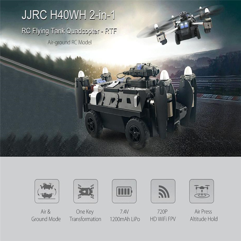 JJRC H40WH WIFI FPV Drone With Camera 200W RC Quadcopter Tank 2.4G 4CH 6Aixs Gyro Air And Ground Mode Atitude Hold Headless Mode jjrc h40wh wireless fpv drone with
