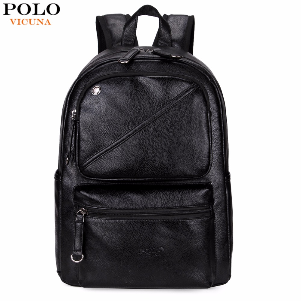VICUNA POLO Leather Men Backpack With Headphone Outlet Brand Large Capacity Men Casual Multifunctional Travel Laptop Backpack vicuna polo men leather usb cable travel laptop backpack with headphone hole school backpack has front pocket bagpack mochila