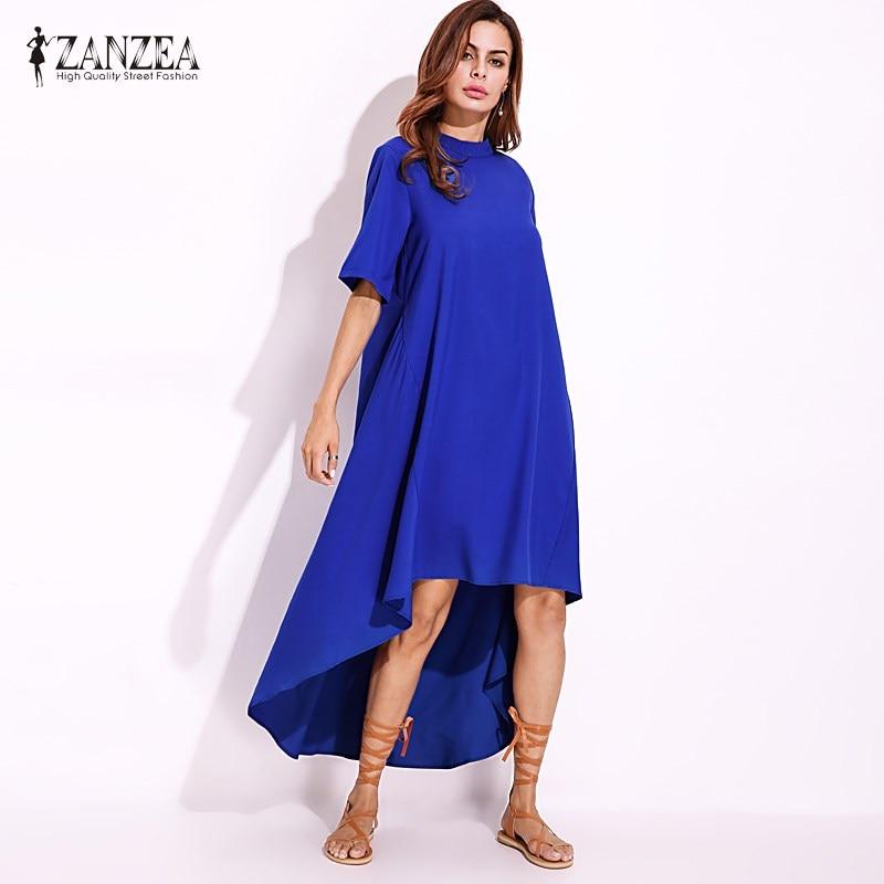 Vestidos 2018 Women ZANZEA Irregular Ruffled Hem Summer O-Neck Short Sleeve Casual Loose Solid Maxi Shirt Dress Plus Size S-5XL