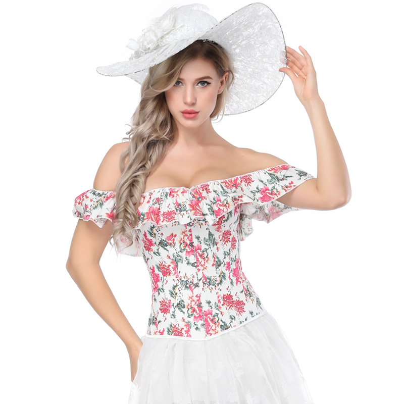 Floral Bustier Corset Top Women's Off Shoulder Ruffles Corsets and Bustiers Overbust Sexy Corsets Slimming Short Sleeve Clothes