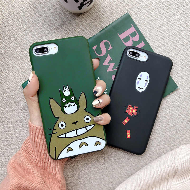 JAMULAR Japanese Cartoon Totoro Phone Case for iPhone 7 8 Plus 6S Plus matte silicone cover for iPhone X XS MAX XR soft Coque