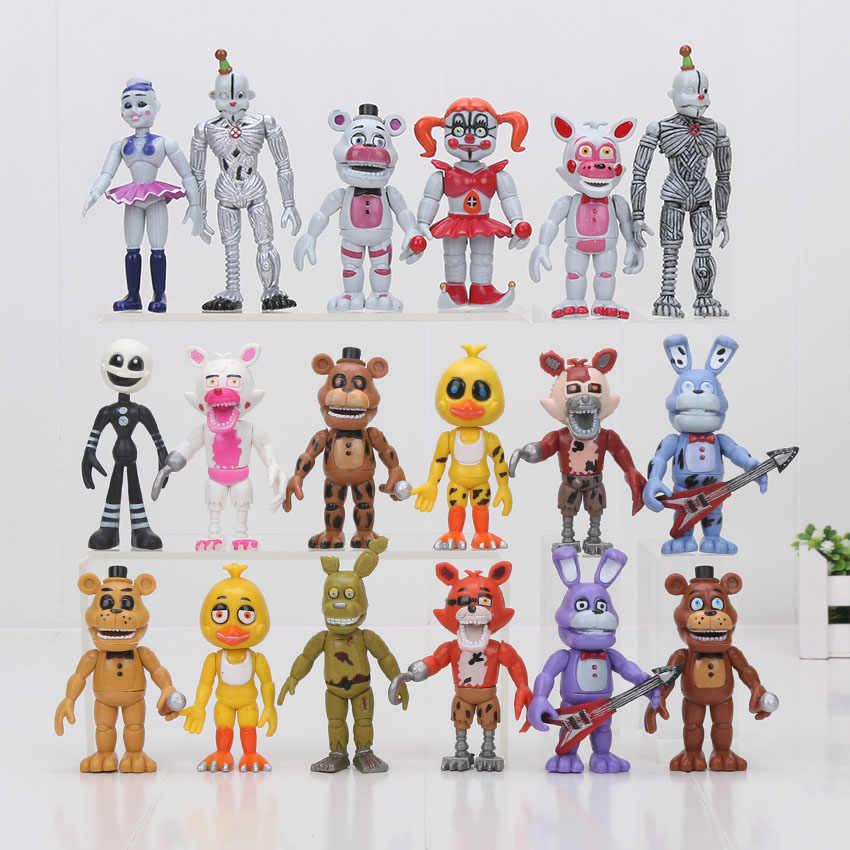 6 pçs/set 10cm Cinco Noites No 4 Local da Irmã do Freddy Chica Funtime Foxy Ballora Fantoche Ouro Freddy FNAF PVC toy Action Figure