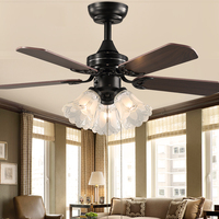 retro ceiling fan with light remote control Ventilador De Techo 220 volt bedroom ceiling light ceiling fan light E27 bulb