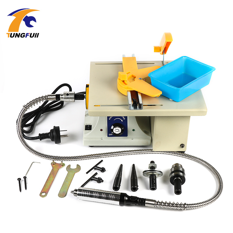 Tungfull Multifunctional Jade Woodworking Table Saw Polishing Machine Desk Cutting Grinding Polishing Carving Machine Power Tool mini multi function table saw bench drill grinding machine with 100w high power cutting machine tool accessories