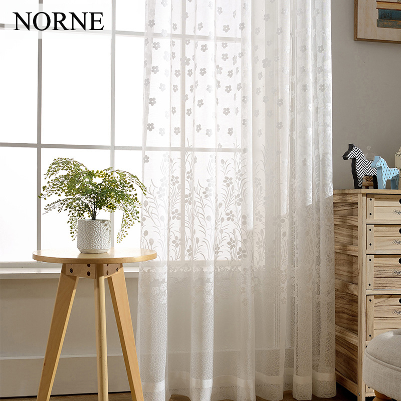 NORNE White Sheer Window Curtain Panels Drapes for Bedroom Living - Home Textile - Photo 1