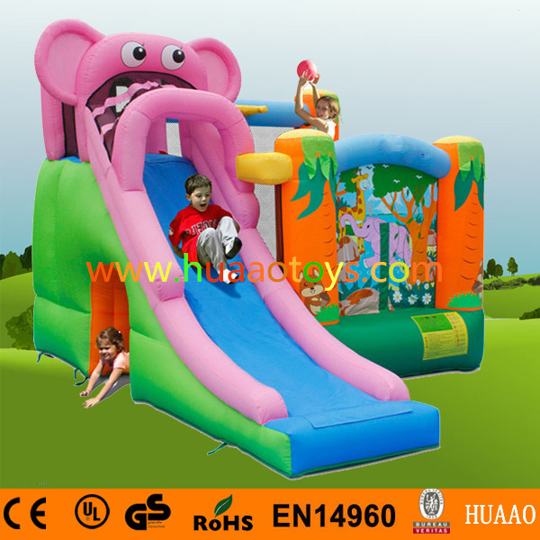 Free Shipping Happy Elephant Inflatable House Bouncer Pool Inflatable Indoor Playground with Free CE blower free sea shipping inflatable slide jumper combo bouncer obstacle course