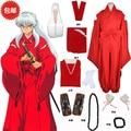 InuYasha red kimono  cosplay costume kimono+belt+geta+scoks+necklace+brecelet+ear