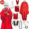Inuyasha traje quimono vermelho cosplay kimono + cinto + geta + scoks + colar + brecelet + ear