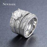 NEWBARK 3 Band Rings Set For Women Princess Cut Cubic Zirconia Silver Color Ring Jewelry Engagement
