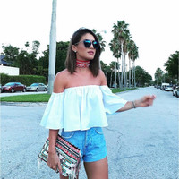 sexy slash neck solid chiffon t-shirt sweet short butterfly sleeve casual 3 colors fashion 2016 new style womens crop top JZ001