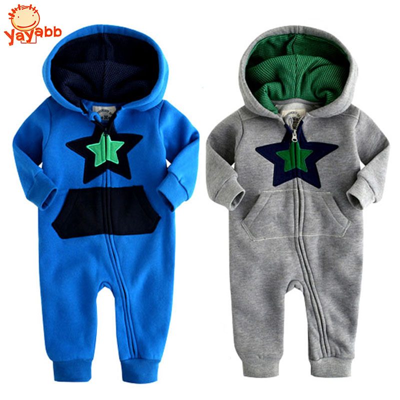 [Yaybb]Retail 2016 New Fashion Start And Flower Baby Jumpsuit Autumn Winter Baby Rompers Cotton Newborn Hooded Baby Clothing