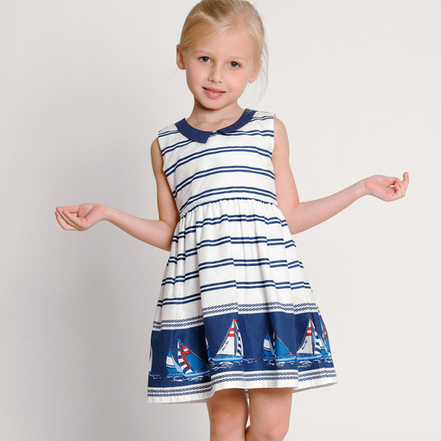 Brand Girls Summer Dress Cotton Sailor Style Sleeveless Striper Girl Dress Children Clothing Casual Custumes For