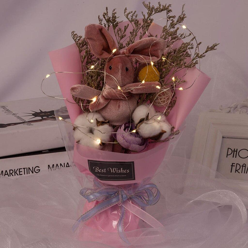 Dried Flower Bouquet Creative Valentine's Day Gift Packing Plush Animal toys Bear Gypsophila Home Wedding Decor