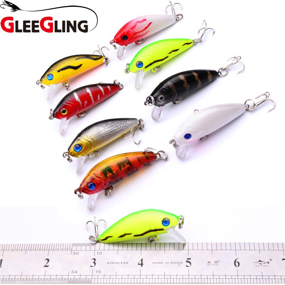 GLEEGLING 8Pcs/Lot 2018 New Fishing Lure Minnow Quality Professional Bait  5cm 3.6g Swim Bait Jointed Bait Equipped 8 Colors