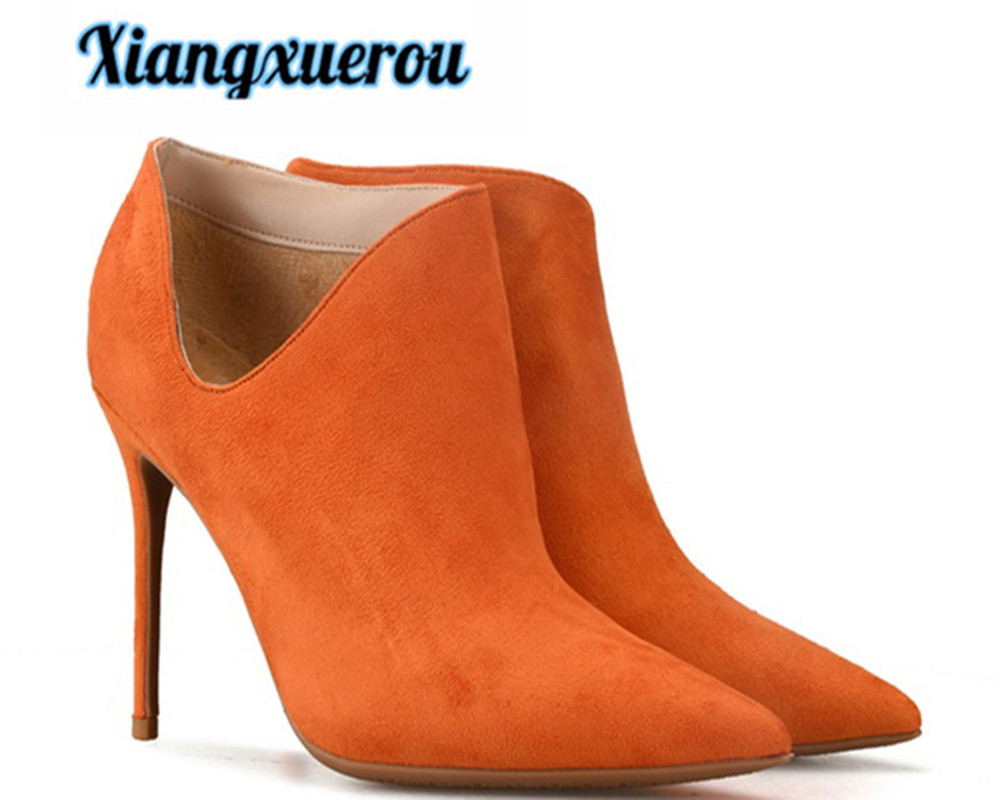 Xiangxue Autumn 2018 new style pure color flannelette European and American sexy stiletto ankle boots for women and nude boots punk style pure color hollow out ring for women