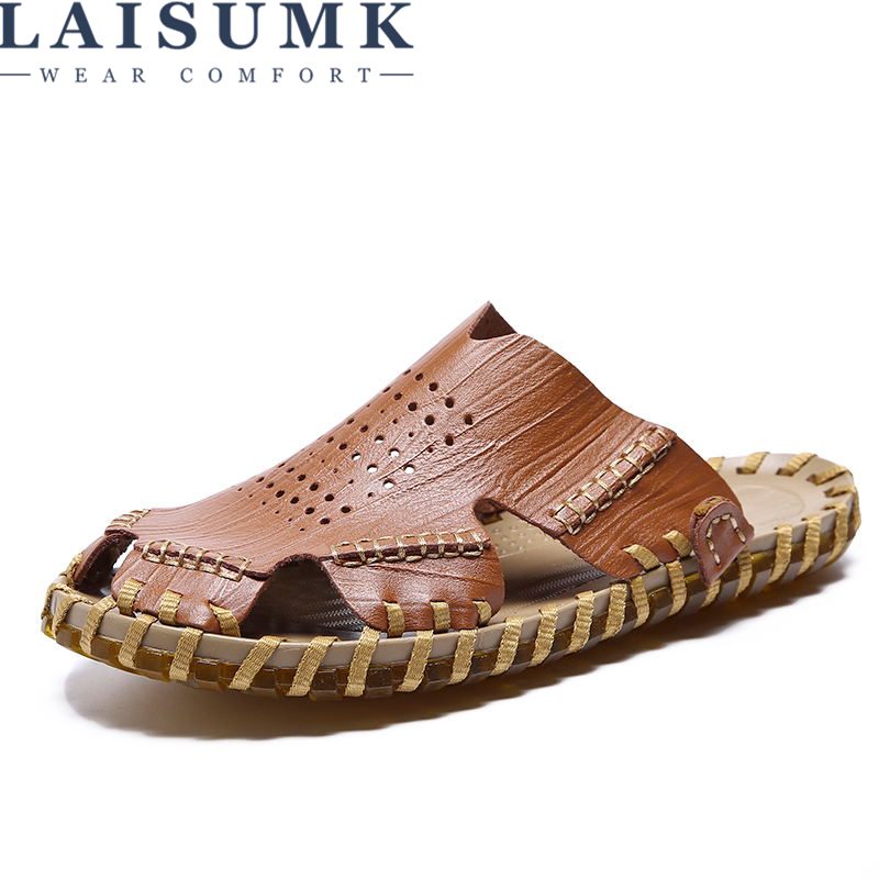 LAISUMK High quality Men sandals Outdoor Fashion Genuine leather Sandals Summer Slippers Breathable Sandalias Hombre