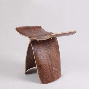 Image 3 - Nasida taburete otomano de madera para el hogar, banqueta de mariposa estilo Yanagi Sori, multicolor, originalidad, norte de Europa
