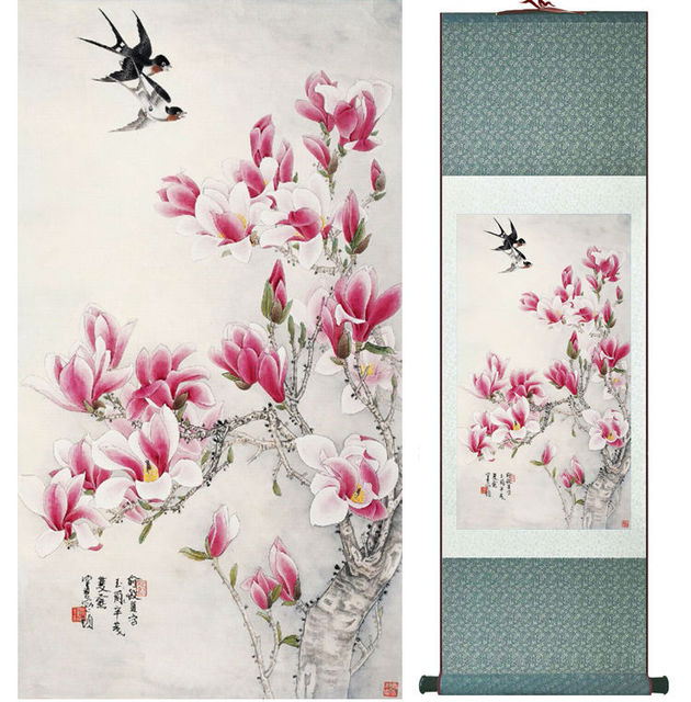 Spring Painting Swallow And Magnolia Flower Painting Home Office