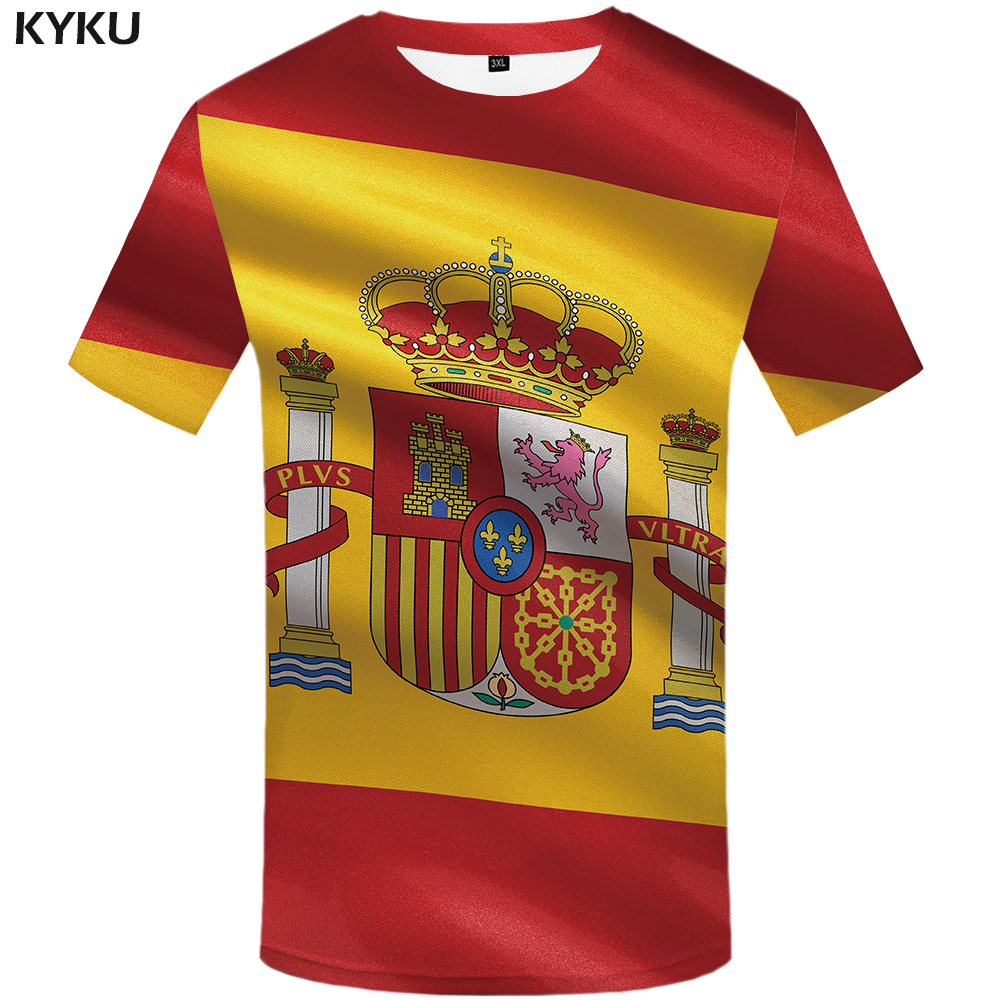 Футболка KYKU с испанским флагом, Футболка мужская хип-хоп, летняя мужская футболка с коротким рукавом, 3d футболка