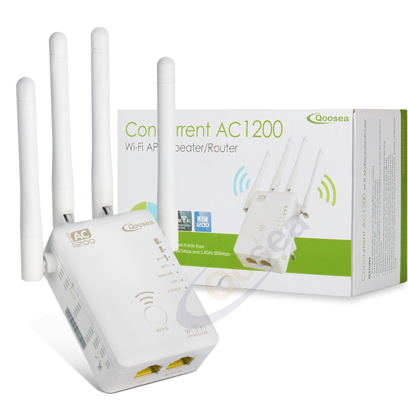 AC1200 Wifi Range Extender Repeater Dual Band Wireless Signal Boosters With 2 Ethernet Ports Wireless Router 4 External Antennas