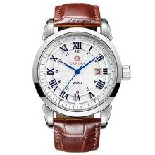 MG. ORKINA Hombres Reloj Correa de Cuero de Cristal Colorido Azul Manos de Japón Movt Reloj de Cuarzo Hombre Reloj Automático Fecha Montre Homme