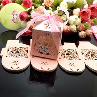 100Pcs/lot Heart Laser Cut Gift Candy Favour Boxes With Ribbon for Wedding Party Table Decoration Wholesales