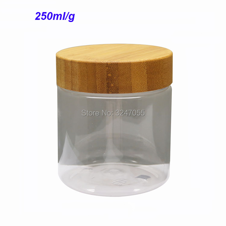 250ml/g Clear Plastic Cosmetic Mask Refillable Pot,Portable Body Lotion Container,Empty Facial Cream Storage Jar with Bamboo Lid