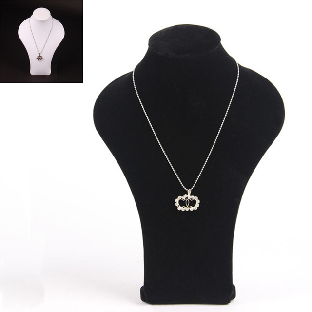2pcs necklace bust display stand holder with black velvet white