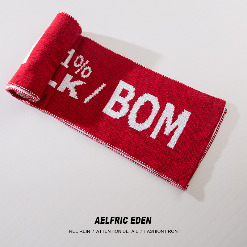 Aelfric Eden Men Women   Scarf   2018 Winter Letter Print Hip Hop Christmas Knitted   Scarves     Wraps   Vintage Fashion Casual Shawl KA06