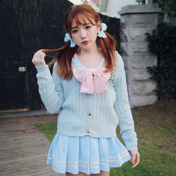 Princesa lolita doce camisola BoBON21 projeto Original do estilo da faculdade emblema bordado torção tricô cardigan azul camisola T1262