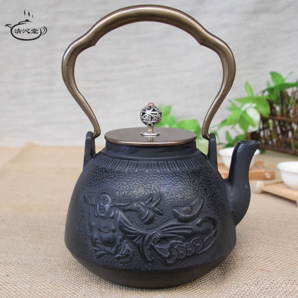 The Japanese copper iron pot cover Large cast iron teapot Boil tea set iron teapot maitreya