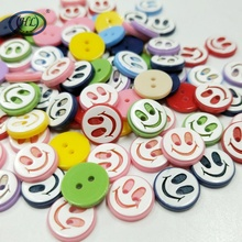 HL 50/100pcs 11mm Smile Mixed Color Random Flatback Resin Buttons 2 Holes Kids Apparel Sewing Accessories DIY Scrapbooking