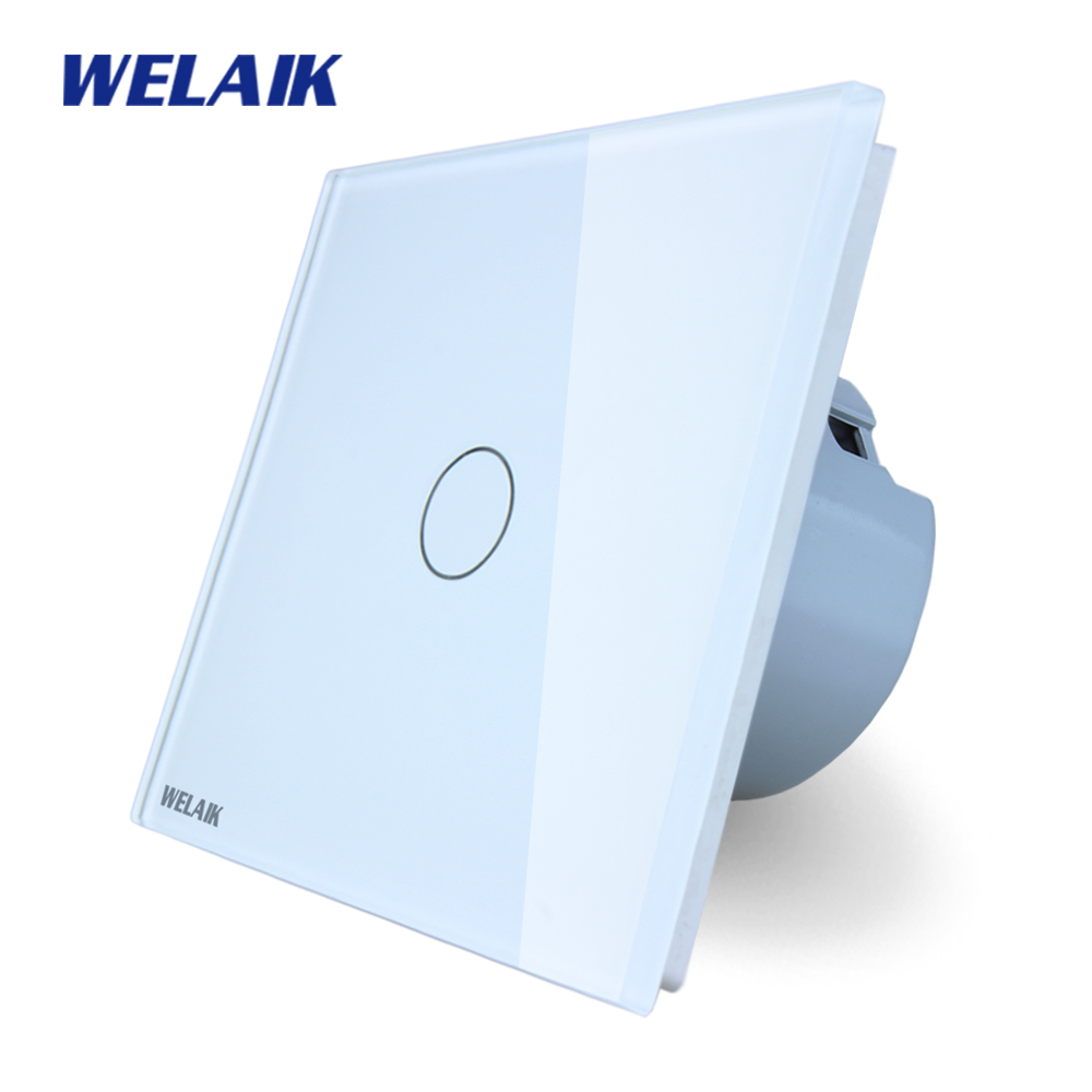 WELAIK brand New Crystal Glass Panel Switch  Wall Switch EU Touch Switch Screen Wall Light Switch 1gang1way  LED lamp A1911CW/B welaik crystal glass panel switch white wall switch eu remote control touch switch light switch 1gang2way ac110 250v a1914w b