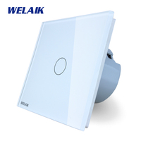 WELAIK Crystal Glass Panel Switch White Wall Switch EU Touch Switch Screen Wall Light Switch 1gang1way