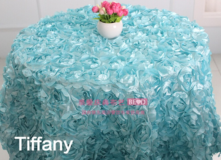 Tiffany colour wedding table cloth embroider rosette flower 3D table cover hotel banquet party round tables decoration on sale