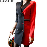 HAMALIEL Women Double Breasted Blazer Pencil Work Dress Business Autumn Black Red Patchwork Notched Collar Sheath Office Dress