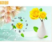 DIY Flower Wall Clock Diamond Painting Cross Stitch Vase Floral Diamond Embroidery Watch Full Round Drill