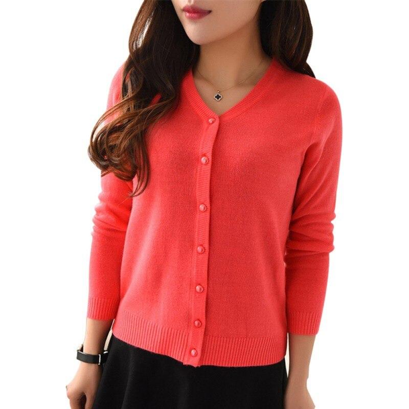 Autumn Women Fashion Casual V-Neck Long Sleeve Slim Short Sweater Cardigan Knit Coat