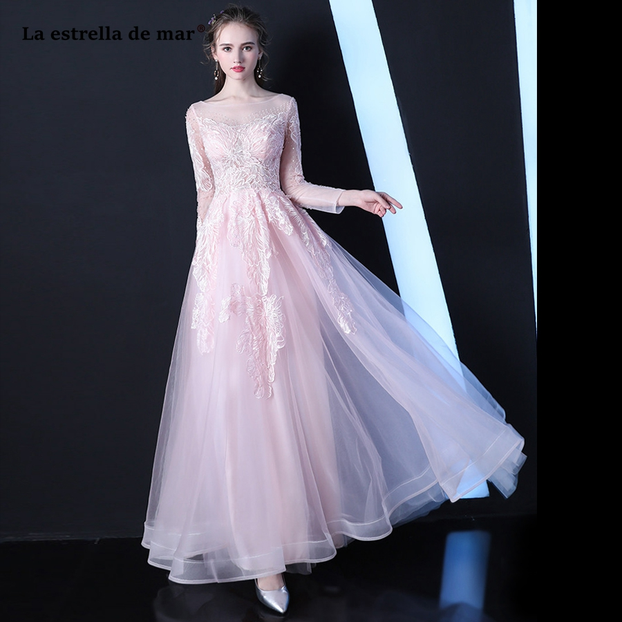 Robe demoiselle d'honneur2018 new Tulle long sleeve a Line sexy see pink gray   bridesmaid     dress   long beautiful vestido madrinha