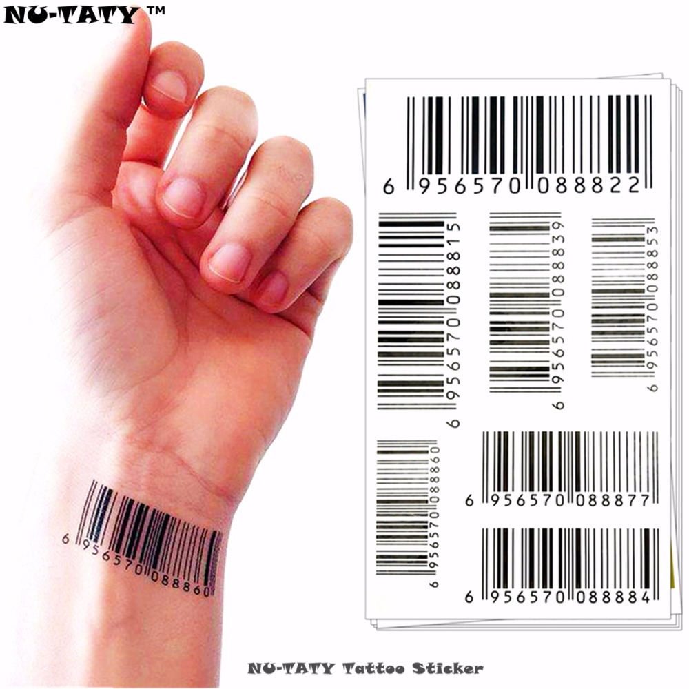 Nu-TATY Nu Era Matricë Barkodi Barcode Tattoo Body Art Flash Tattoo Sticker 17 * 10cm i papërshkueshëm nga uji Henna Tatoo Selfie Sticker Wall