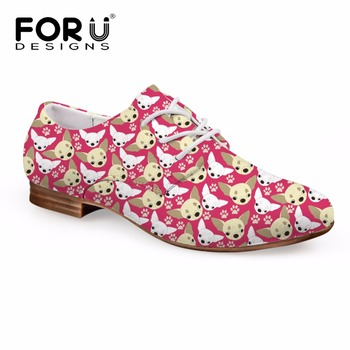 FORUDESIGNS Cute Chihuahua Puzzle Women Spring Flats Shoes Lace-up Oxfords Shoes for Lady Fashion Leather Dress Shoes Woman 2018