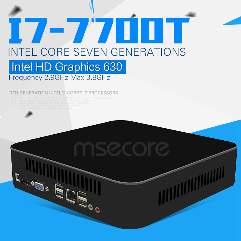 Intel Quad-Core i7 7700T Mini PC Desktop Computer Windows 10 Nettop NUC...